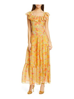 Saloni jemma ruffle trim cotton & silk dress