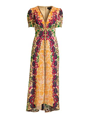 Saloni lea floral silk long dress