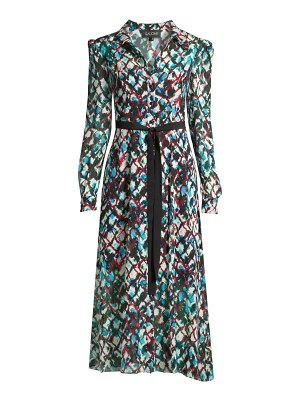 Saloni vanessa printed silk shirtdress