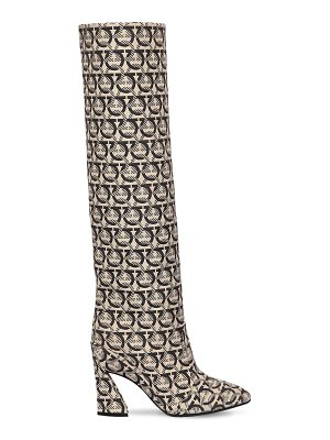 Salvatore Ferragamo 105mm antea x51 cotton canvas tall boots