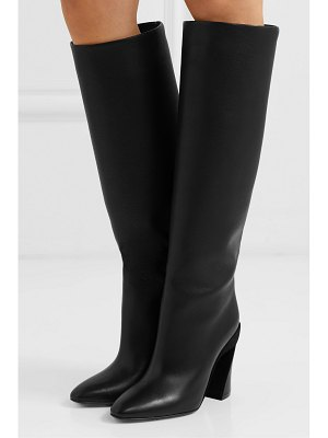Salvatore Ferragamo antea suede-trimmed textured-leather knee boots