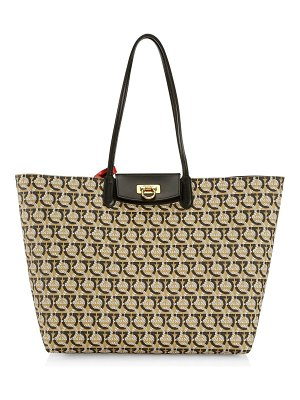Salvatore Ferragamo medium gancini jacquard canvas tote