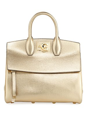 Salvatore Ferragamo Studio Small Metallic Leather Satchel Bag