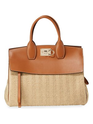 Salvatore Ferragamo The Studio Medium Leather/Raffia Satchel Bag