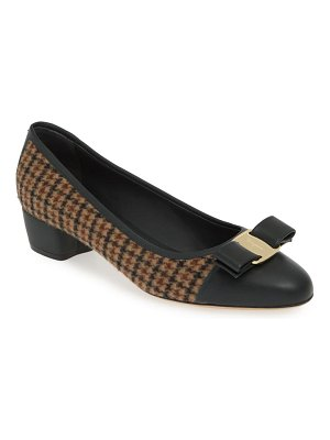 Salvatore Ferragamo vara bow houndstooth pump