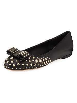 Salvatore Ferragamo Varina Roc3 Studded Leather Ballet Flats