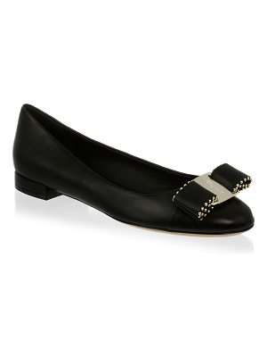 Salvatore Ferragamo varina studded bow leather flats