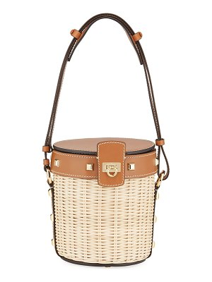 Salvatore Ferragamo Wicker Drawstring Medium Bucket Bag