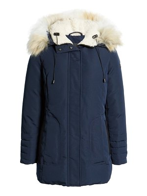 Sam Edelman short parka with faux fur trim