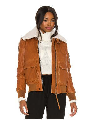 SAM. fur amelia leather bomber jacket