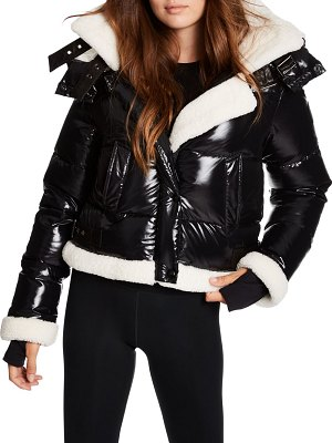 SAM. ryan shearling-trim puffer down jacket