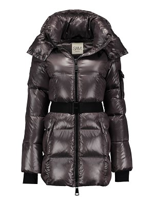 SAM. soho belted nylon down mid-length jacket