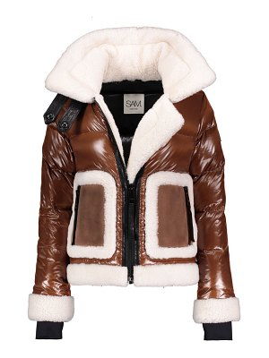 SAM. veronica shearling-trimmed down biker jacket