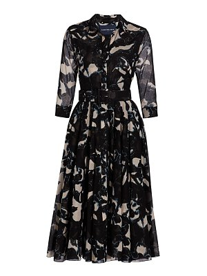 Samantha Sung abstract print belted fit-&-flare dress