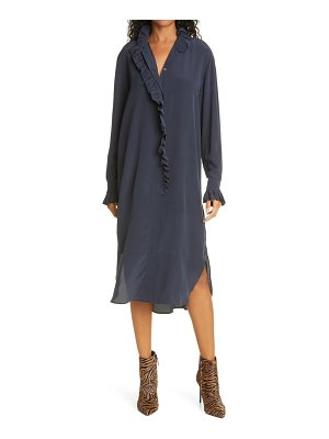 Samse Samse sams?e sams?e jade long sleeve silk shirtdress