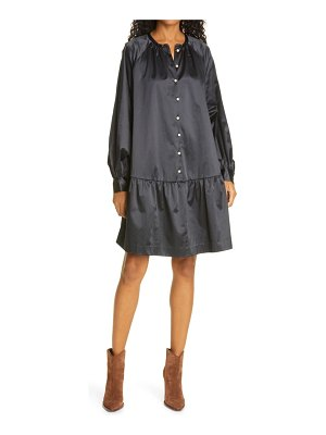 Samse Samse sams?e sams?e star long sleeve satin shirtdress
