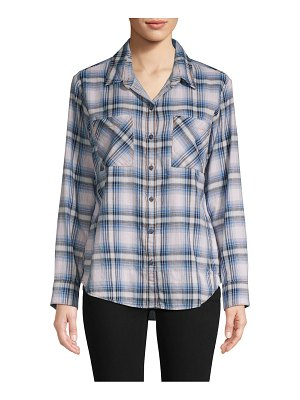 Sanctuary Plaid Cotton Boyfriend Button-Down Shirt