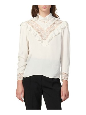 Sandro jeane lace trim long sleeve blouse