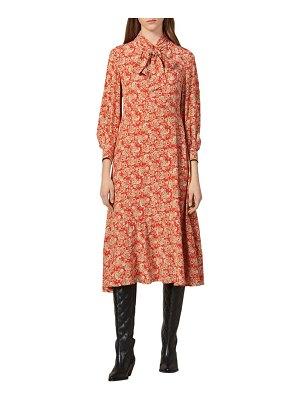 Sandro lanelle paisley tie neck midi silk dress