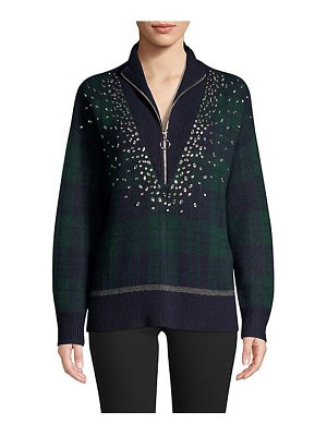 Sandro patience embellished plaid zip-front sweater