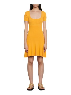 Sandro synn short sleeve fit & flare sweater dress