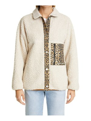 Sandy Liang checkers leopard trim fleece jacket