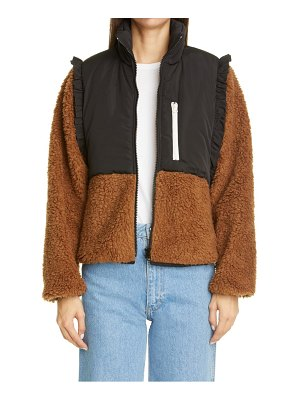 Sandy Liang mia ruffle shoulder fleece jacket
