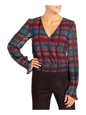 Santorelli Aldi Plaid Double Georgette Top