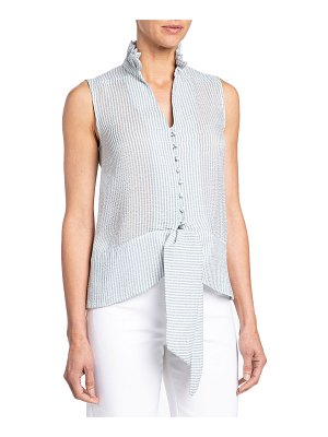 Santorelli Brina Striped Seersucker Sleeveless Top