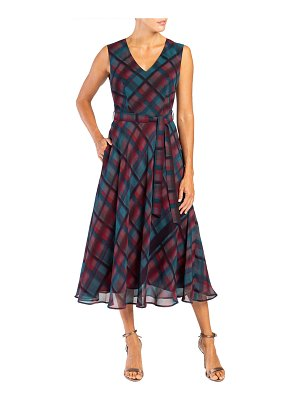 Santorelli Celia Plaid Sleeveless Double Georgette Midi Dress