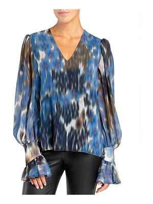 Santorelli Dominique V-Neck Ruffle-Cuff Double Georgette Blouse