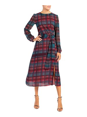 Santorelli Doria Plaid Double Georgette Midi Dress