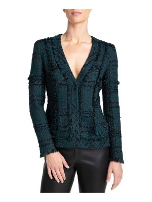 Santorelli Estela V-Neck Tweed Jacket