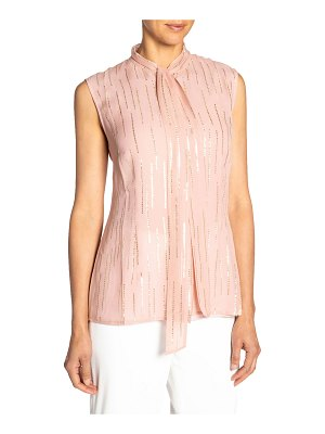Santorelli Fancy Striped Tie-Neck Sleeveless Silk Top
