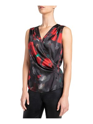 Santorelli Lynn Faux Wrap Sleeveless Top