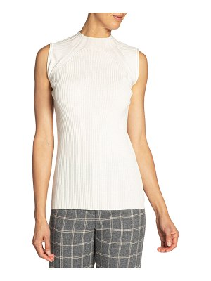 Santorelli Sleeveless Fancy Knit Wool Top