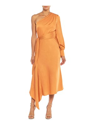 Santorelli Varga One-Shoulder Asymmetrical Satin Dress