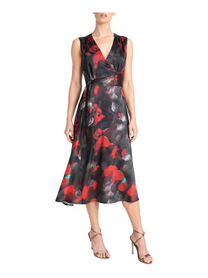 Santorelli Velia Sleeveless Faux-Wrap Midi Dress