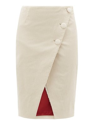 Sara Battaglia asymmetric cotton blend jumbo corduroy wrap skirt