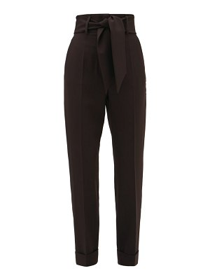 Sara Battaglia belted high-rise technical-crepe trousers