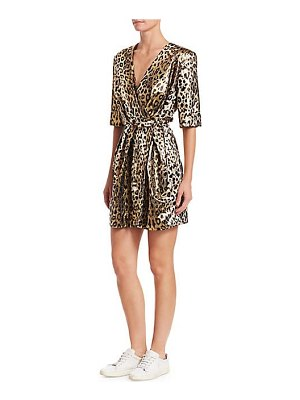 Sara Battaglia metallic leopard mini wrap dress
