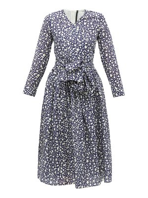 Sara Lanzi abstract-print v-neck cotton-blend wrap dress