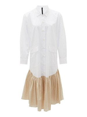 Sara Lanzi checked ruffled-hem cotton shirt dress