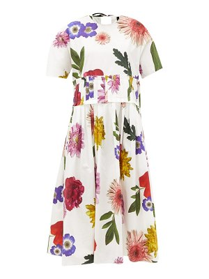 Sara Lanzi floral-print cotton-poplin midi dress