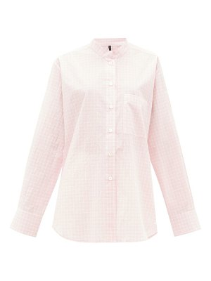 Sara Lanzi graph-checked tumbled cotton-poplin shirt