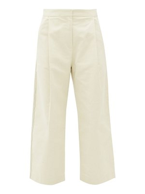 Sara Lanzi pleated cotton-twill wide-leg trousers