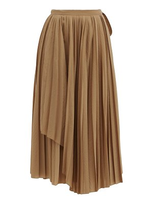 Sara Lanzi pleated wool-blend wrap skirt