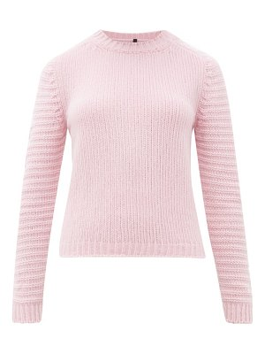 Sara Lanzi ribbed-sleeve crew-neck wool-blend sweater