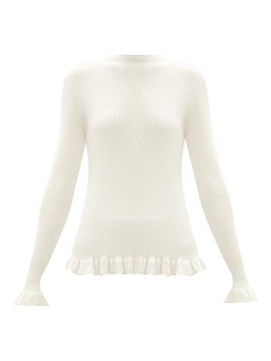 Sara Lanzi ruffle-trim rib-knit merino wool sweater