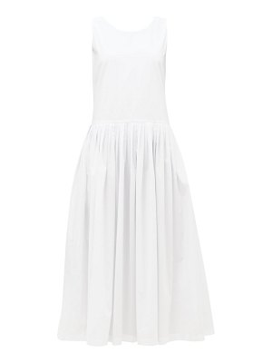 Sara Lanzi tie-back cotton-poplin dress